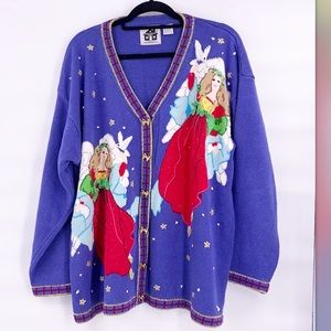 Vintage ugly Christmas sweater cardigan knit 2X